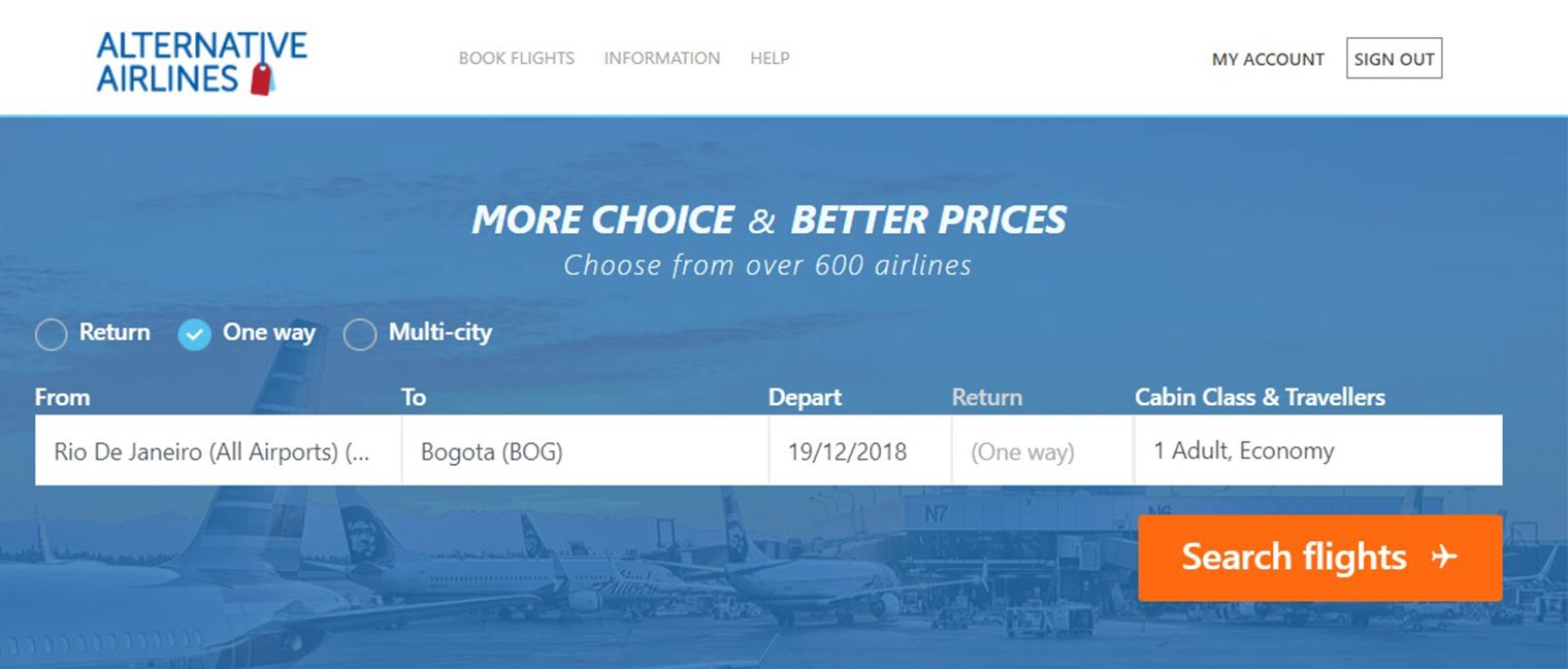 Step 1 Adding baggage Alternative Airlines Search Bar
