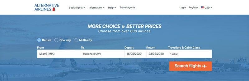 Alternative Airlines flight search MIA–HAV 15/05/20–23/05/20