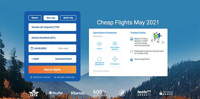 Alternative Airlines Search Form Toronto-ATL 24/05/21