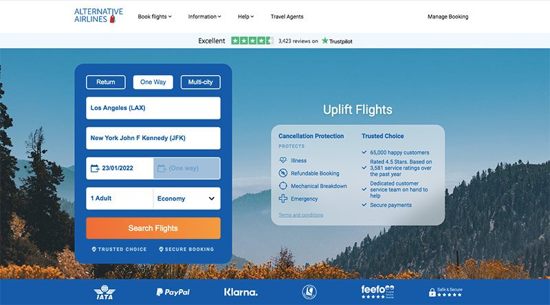 Alternative Airlines search form Uplift Flights LAX–LOS 23.01.22