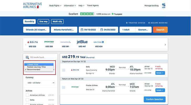 Sort by cheapest flight filter on Alternative Airlines search results (ORL-ATL)