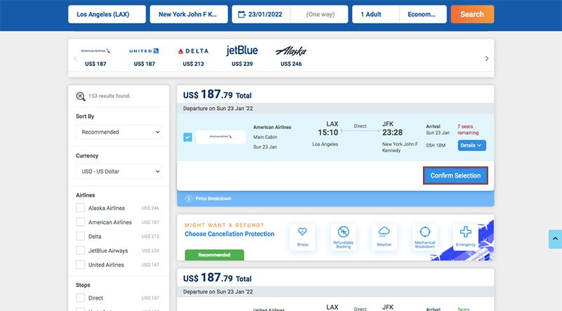 Alternative Airlines search results Uplift Flights LAX–LOS 23.01.22