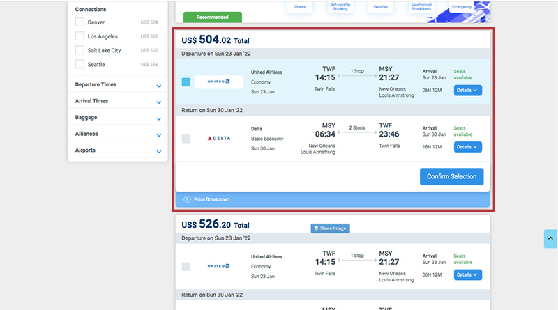 Alternative Airlines Search Results Multiple Airlines Selected TWF-MSY 23/01/22-30/01/22