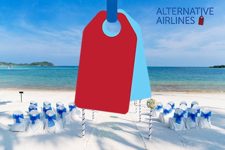 Beach Wedding with the Alternative Airlines logo over the top
