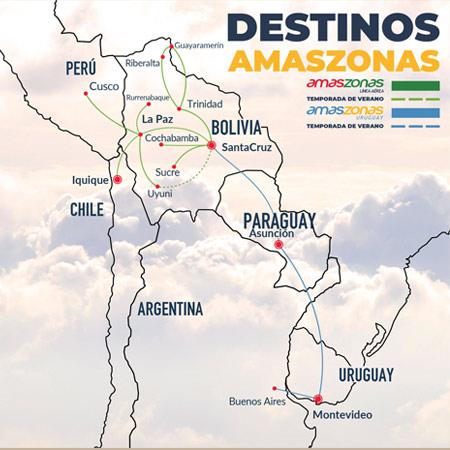 Amaszonas Uruguay Rote Map