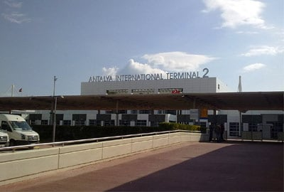 Outside the front of Antalya International Airport Terminal 2