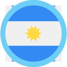 Argentina round flag blue border