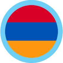 Armenia Flag Round blue border