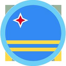 Aruba flag round with blue border