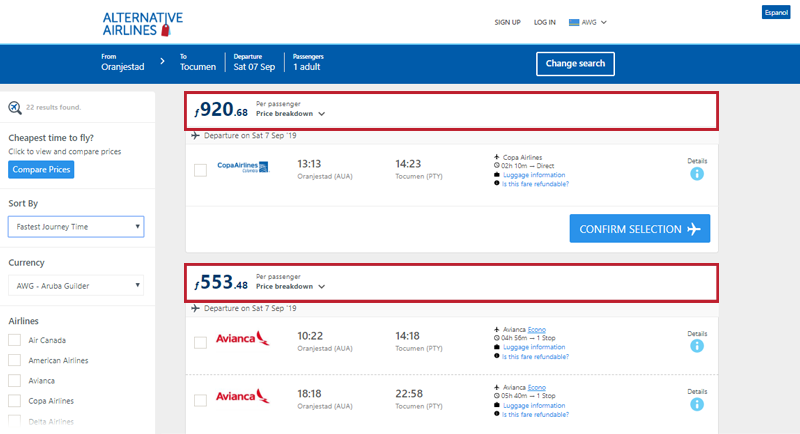Alternative Airlines Aruban Florin search results page