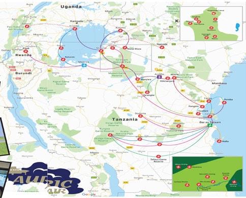 Auric Air route map