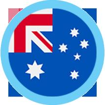 Australia flag round border blue
