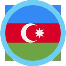 Azerbaijan Flag Round Blue Border