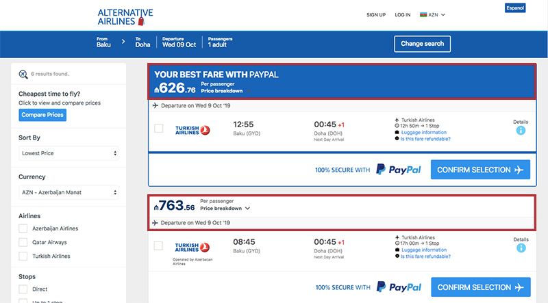 Alternative Airlines Azerbaijan manat search results page
