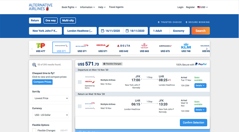 JFK—LHR 16/11/20 Alternative Airlines flight search results page