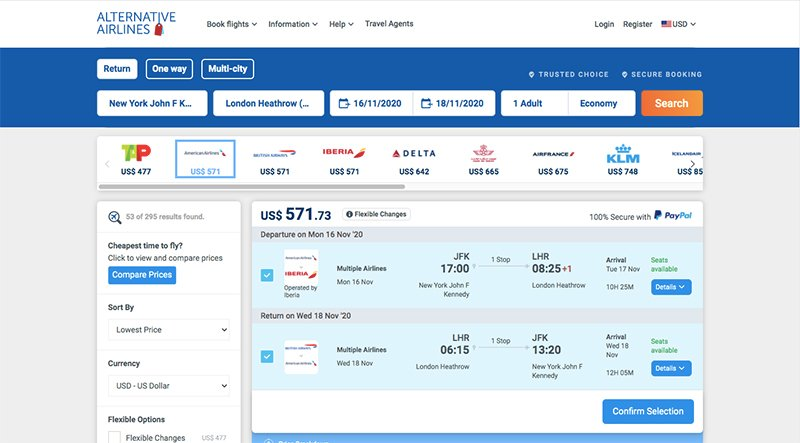 JFK—LHR 16/11/20 Alternative Airlines flight search results page Airlines selected