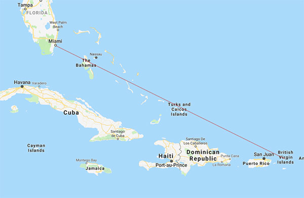 BVI Airways route map