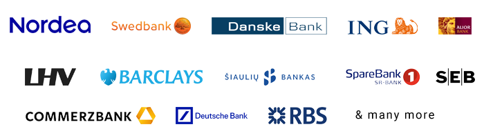 Logos of banks accepted by Alternative Airlines and Trustly
