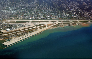 Aerial view of runways at Beirut Airport
