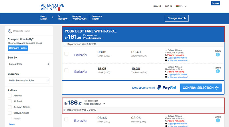 Alternative Airlines Belarusian Ruble search results page