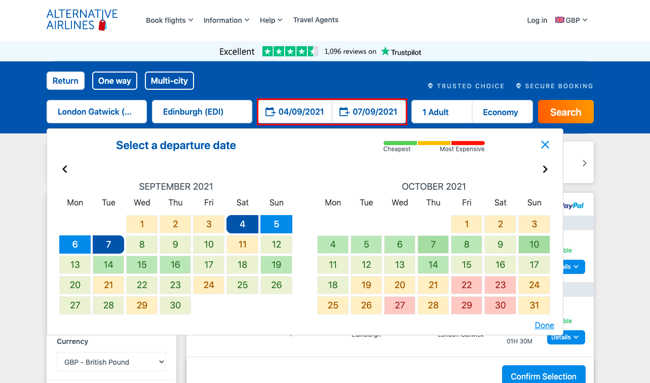 Screen shot of the best fare finder tool being used on the alternative airlines website