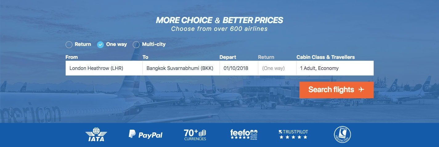 Alternative Airlines search bar with London Heathrow to Bangkok selected