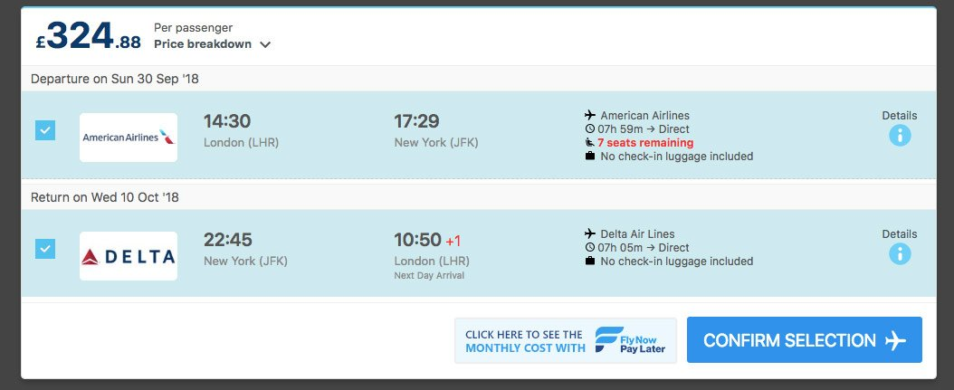 Alternative Airlines flight search result from London Heathrow to Bangkok