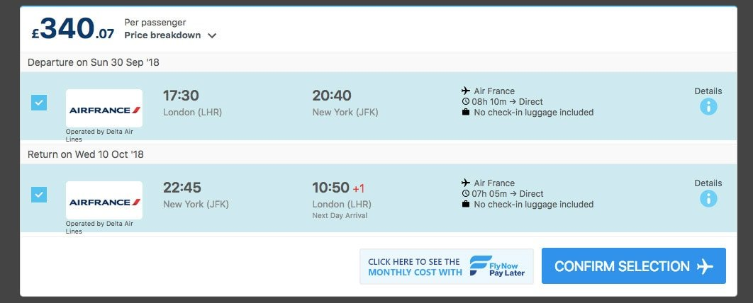 Jet Airways flight results for London Heathrow to Bangkok