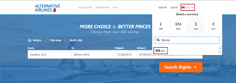step by step guide showing how to use Bosnia and Herzegovina Convertible to buy airline tickets