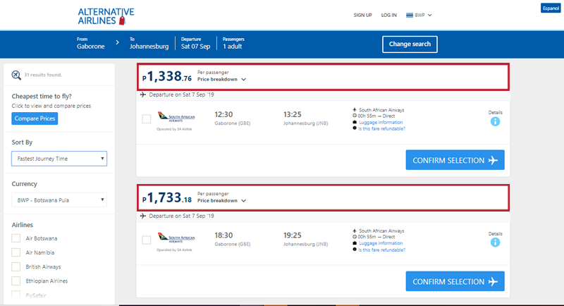Alternative Airlines Botswana pula search results page