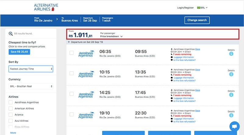 Alternative Airlines Brazilian real search results page