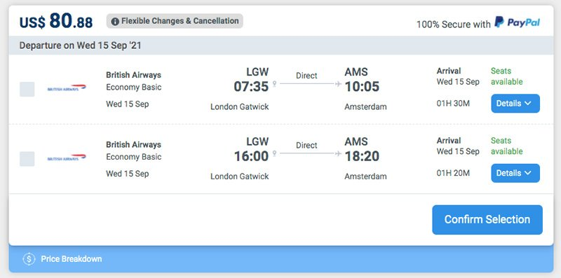 Alternative Airlines Search Results Flexible Changes & Cancellation Policy British Airways