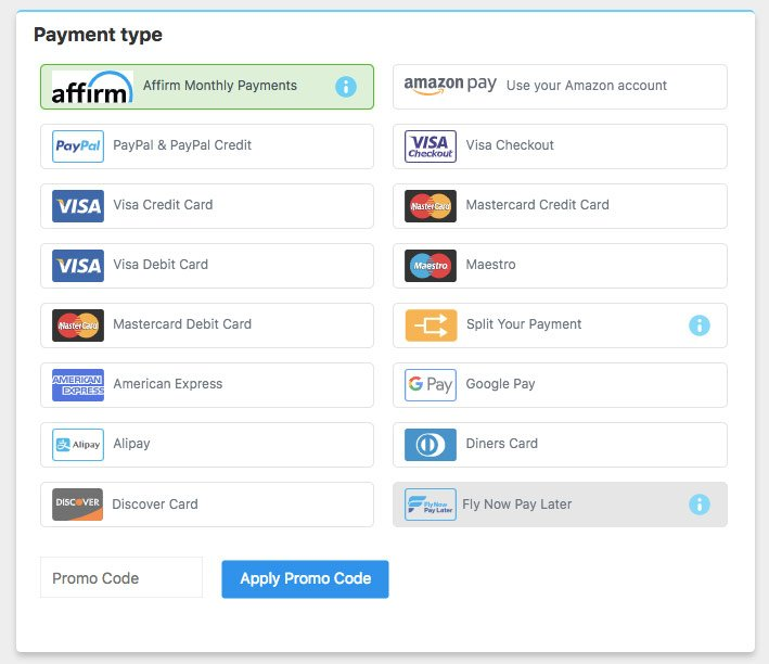 Alternative Airlines payment page with Affirm selected