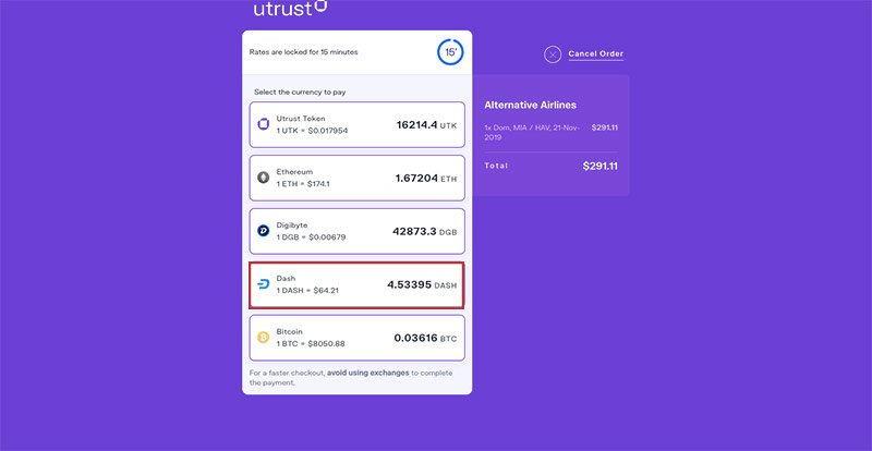Alternative Airlines UTRUST Payment Dash Selected