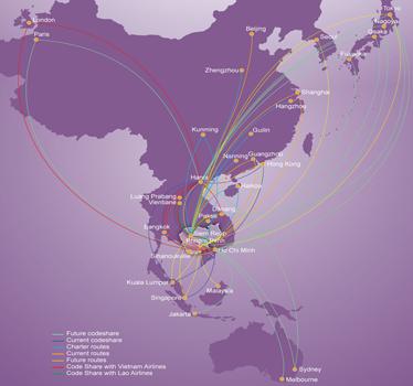 Cambodia Angkor Air route map