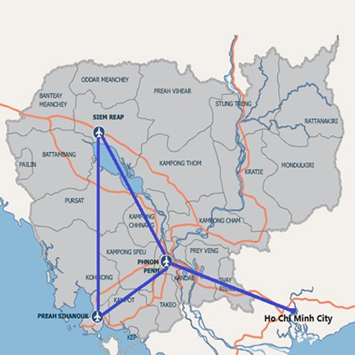 Cambodia Bayon Airlines route map