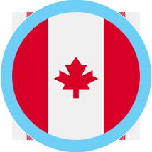 Canada round flag blue border