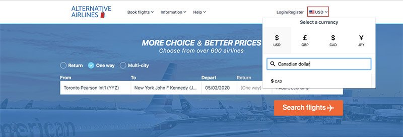 step by step guide showing how to use Canadian dollar to buy airline tickets