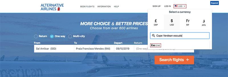Alternative Airlines currency changer Cape verdean escudo