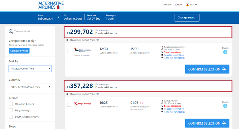Alternative Airlines Central African Franc search results page