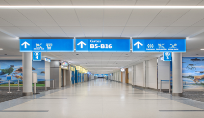 Interior shot of concourse B, showing the large/bright walkway