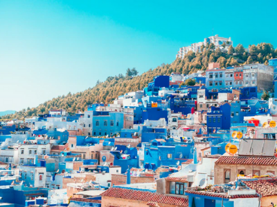 A view of the blue hillside village of Chefchaouen in Morocco