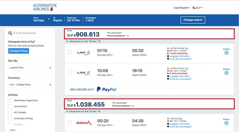Alternative Airlines Chilean peso search results page
