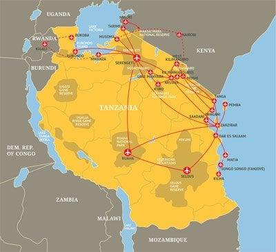 Coastal Aviation route map