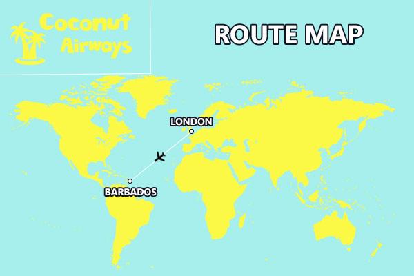 Coconut Airways Route Map