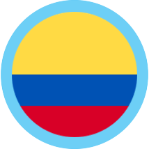Colombia round flag blue border