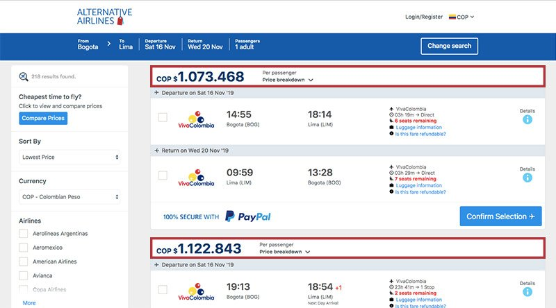 Alternative Airlines Colombian peso search results page