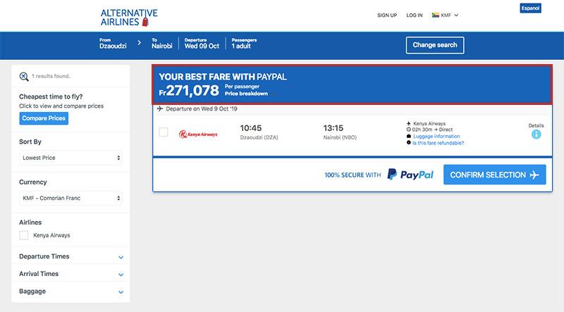 Alternative Airlines Comorian franc escudo search results page