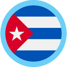 Cuba round flag blue border