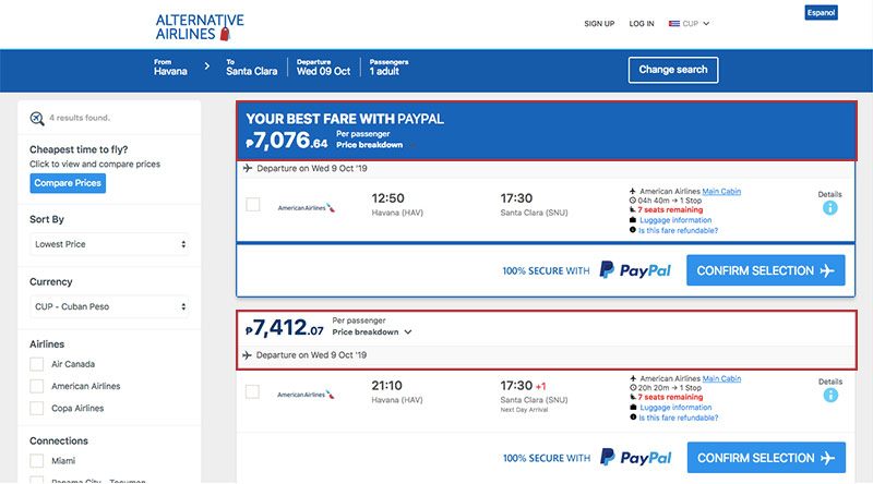 Alternative Airlines Cuban peso search results page